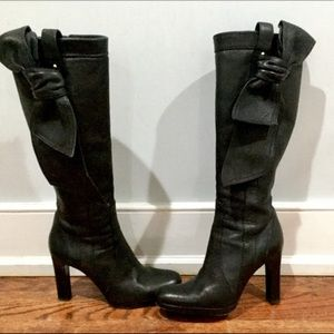 Valentino Bow Knee High Boots Black Leather 36.5